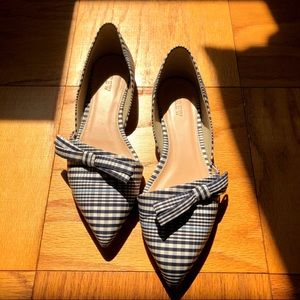 J Crew Plaid Bow Flat, Sz 6